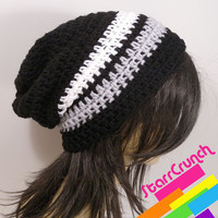 Slouchy Beanie Crochet Hat in Black White and by StarrCrunch