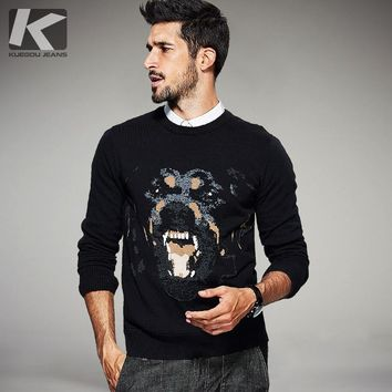 KUEGOU Autumn Mens Sweaters 100% Cotton Print Dog Black Knitted Brand Clothing Man's Slim Knitwear Male Knitting Pullovers 16946