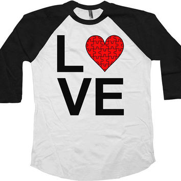 Autism Awareness Shirt Love Autism Shirt Puzzle Piece Autism Gifts Awareness Ribbon Support T Shirt American Apparel Unisex Raglan - SA597