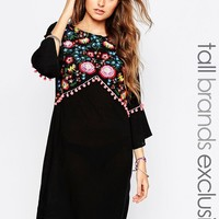 Liquor & Poker Tall Folk Embroidered Kaftan Dress