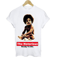 Biggie Smalls 'Ready To Die' T Shirt Tee S M L XL Baby Biggie The Notorious B.I.G Hip Hop Gangster Murder