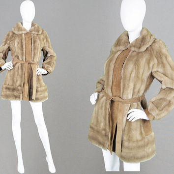 Vintage 60s LILLI ANN Faux Fur Coat & Real Tan Suede Coat 1960s Mod Jacket Fake Mink Fur Belted Jacket Blonde Fur Fall Winter Coat Womens