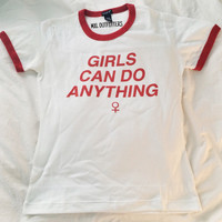 Girls Can Do Anything Ringer Tee © Design by Maggie Liu