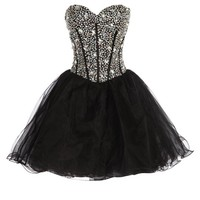 GRACE KARIN® Sequined Short Organza Cocktail Prom Dress CL3520 (Multi-Colored)