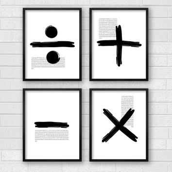Modern Wall Art - Modern Art - Black & White Art - Black and White Wall Art - Minimalist Art - Living Room Wall Decor - Unique Math Symbols