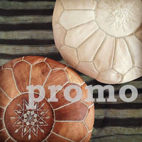 DECORATE your living room with this 2 AMAZING moroccan traditional LEATHER poufs!!!