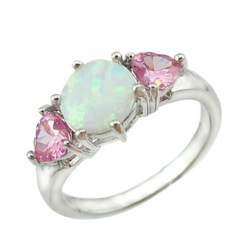 Free Gift Box New Arrival Synthetic White Fire Opal Pink Topaz Silver Plated Women Weeding Opal Ring Size  6 7 8 9