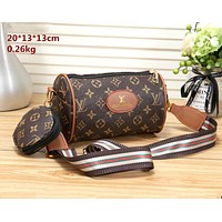 LV & GUCCI tide brand female small round bag personality wild canvas shoulder diagonal package
