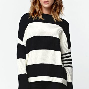 Rusty Basement Knit Stripe Crew Sweater - Womens Sweater - Black