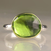 Rose Cut Peridot Ring - 18k Gold and Sterling Silver - Made to Order