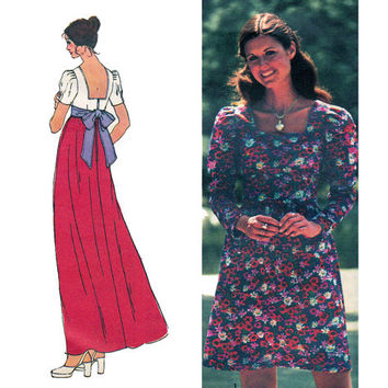 1970s Low Back Dress or Maxi Dress Vintage sewing pattern Simplicity 5469 Size 9 JP Bust 33 UNCUT FF
