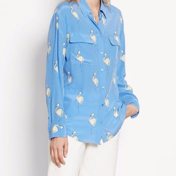 New EQ 100% real silk ladies' flamingo print pink blue long sleeve women blouse Equipment loose shirt autumn
