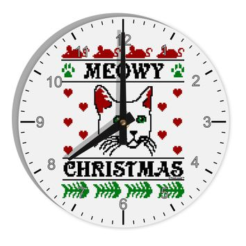 "Meowy Christmas Cat Knit Look 8"" Round Wall Clock with Numbers by TooLoud"