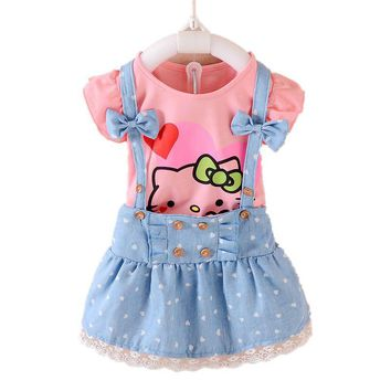 Hello Kitty Girls Dress Dresses Kids Girls clothes Children clothing Summer 2017 Toddler girl clothing Sets Casual Fashion T569