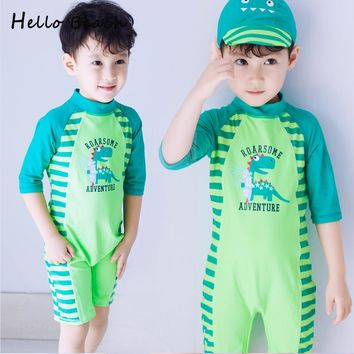 Dinosaur Print Child Swimwear One Piece Boys Swimsuits Kids Bathing Suits Baby Boy Swimsuit Children Beach Wear With Zipper Cap