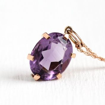 Genuine Amethyst Necklace - Mid Century 14k Rose Gold Purple Oval Pendant Charm - 1950s Faceted Gemstone 9.91 CT February Birthstone Jewelry