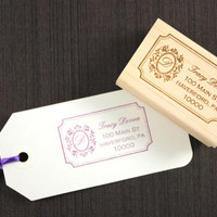 Custom Monogram Address Stamp with Vintage Inspired Label Stamp
