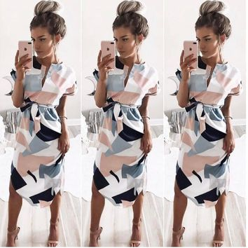 Women Midi Pencil Dress Summer Geometric Multi-color Mid-Calf Length Stand Collar Novelty  Dresses