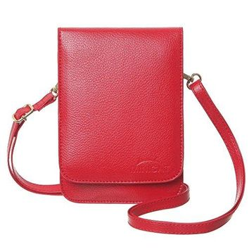 MINICAT Touch Screen Design Premium Microfiber Leather Small Crossbody Cell Phone Wallet Purse With Makeup Mirror