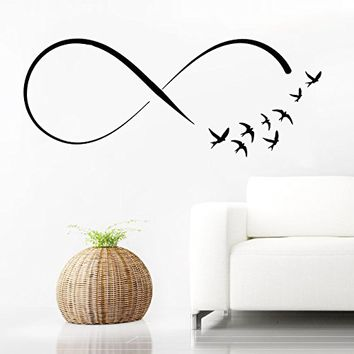 Wall Decal Infinity Symbol Vinyl Sticker Decals Home Decor Infinity Loop Vinyl Flock of Birds Flying Wall Decals Bedroom (6159)