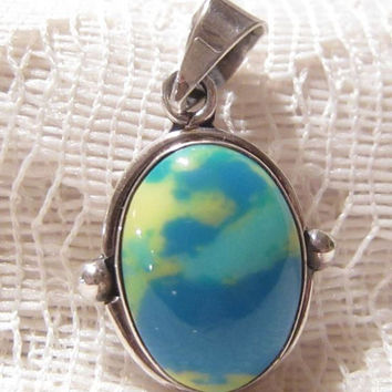 Sterling Silver Blue Yellow Stone Pendant Mexico Signed