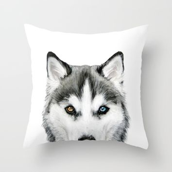 Siberian Husky dog with two eye color Throw Pillow by MiartDesignCreation
