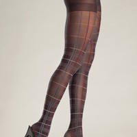 Red Accent Plaid Pantyhose