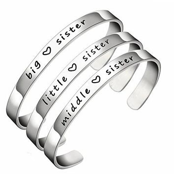 AUGUAU BESPMOSP Big Sis Middle Sis Little Sis Sister Cuff Bangle Bracelet Family Friend Gift for Women Girls