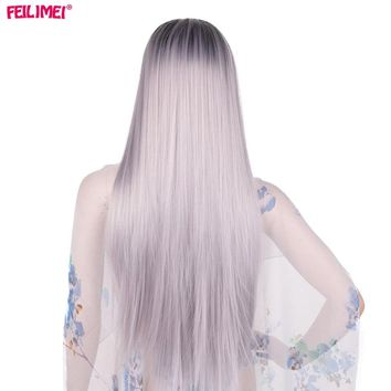 Gray Wig Synthetic Kanekalon Hair Long Straight Full Head Black Grey Wigs for Women Hair Extensions