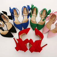 Big Bow Ankle Strap Pointed Toe Heel Dancing Stiletto Shoes