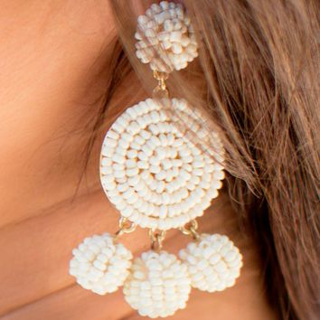 Sure Shot Earrings in Ivory | Monday Dress Boutique
