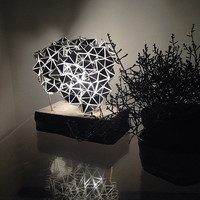 Concrete Geodesic Table Light Sculpture