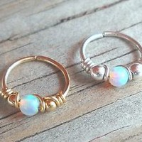Seamless,Endless,Wrapped White Fire Opal,Beaded Hoop,Ring | eBay