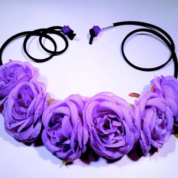 Puple Rose Flower Headband, Flower Crown, Flower Halo, Festival Wear, EDC, Coachella, Ultra Music Festival, Rave