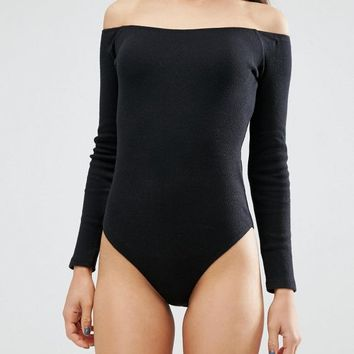 ASOS PETITE Off Shoulder Body in Rib with Long Sleeves at asos.com