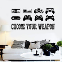 Vinyl Wall Decal Gaming Quote Joysticks Video Game Stickers (ig4500)