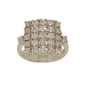 Handset Clear Pave Cubic Zirconia Cluster Cocktail Ring in Square Shape
