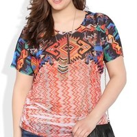 Plus Size Tribal Print Dolman Top with Lace Back Patch
