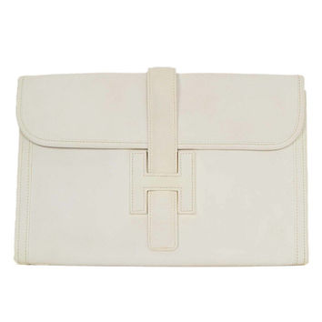 HERMES White Epsom Leather Jige PM Clutch from 1stdibs | It\u0026#39;s In