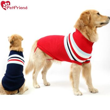 Pet clothes big dog cat sweater vest for small dog warm winter clothing striped woollen outdoor apparel Plott Hound Pitbull