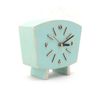 Pastel Mint Clock Table, Wood Desk Clock, Distressed Mantel clock, Shabby chic Summer Mint Green decor, Birthday gift