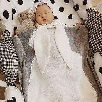Baby Winter Blanket Wrap Soft Bedding Blankets Newborn Big Rabbit Ear Swaddle Kids Blankets Linens Swaddling Winter Autumn