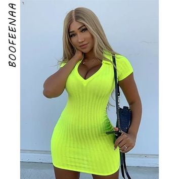 BOOFEENAA Neon Yellow Sexy Bodycon Dresses Short Sleeve V-neck Ribbed Knitted Sweater Dress Summer Ladies Clothing C55-AA55