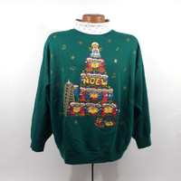 Ugly Christmas Sweater Vintage Sweatshirt Bears Noel Party Xmas Tacky Holiday size L