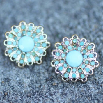 Flower Stud- Blue