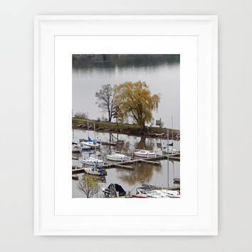 Weeping Willow and the Marina Framed Art Print by DanByTheSea