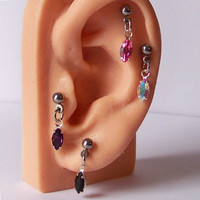 Tragus Piercing - Cartilage Piercing - Helix Piercing - Dangle Ear Piercing - Tragus Barbell - Helix Barbell - Choose Your Gemstone