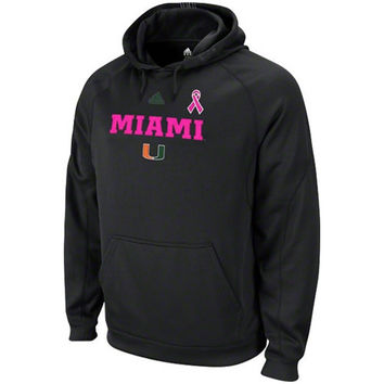adidas Miami Hurricanes Black Breast Cancer Awareness Train Coaches Hooded Sweatshirt