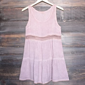 Boho Acid Wash Flowy Tunic Dress With Crochet Inset In Pink