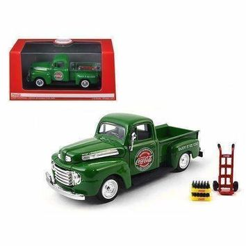 1948 Ford Pickup Truck Coca Cola Green with Coke Bottle Cases and Hand Cart 1/43 Diecast Model Car by Motorcity Classics